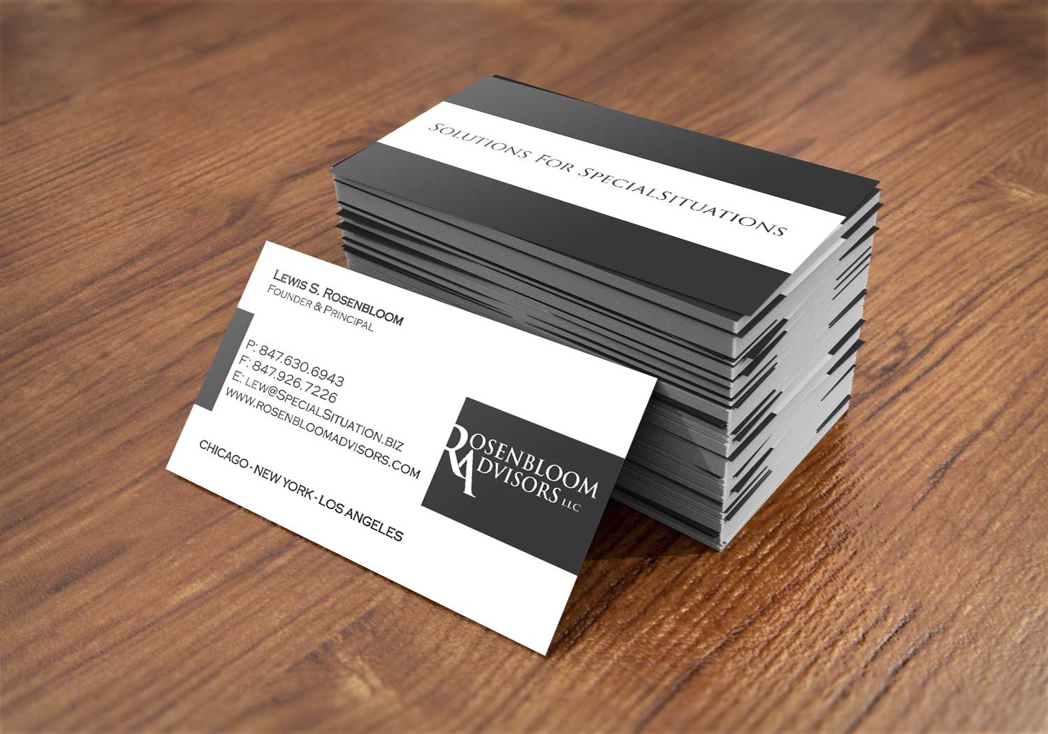 Business card for Rosenbloom Advisors