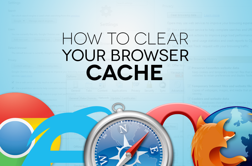 How do I clear my web browser's cache, cookies, and history?